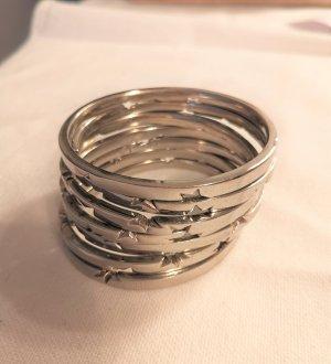 Thierry Mugler Armreifen silber Sternchen Stainless Steel 7 Stück nummeriert