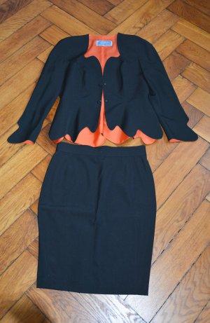 Thierry Mugler selten Vintage Kostüm jacke Bleistiftrock FR 44 DE 40 schwarz Orange