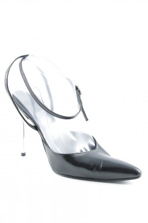 Thierry Mugler Spitz-Pumps schwarz-silberfarben Business-Look