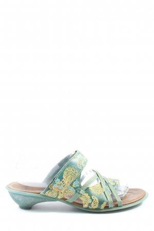 Think! Heel Pantolettes turquoise-primrose themed print casual look