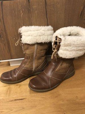 Think! Botas de piel blanco puro-marrón