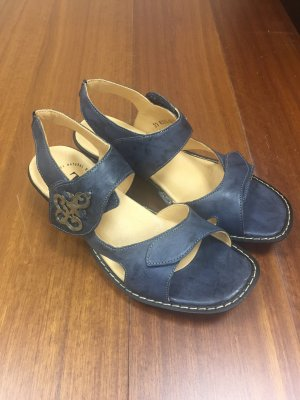 Think! Strapped Sandals steel blue leather