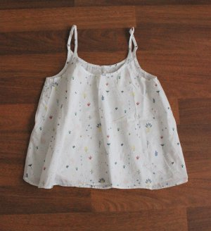 ThokkThokk weiße Bluse Top Träger Größe L nachhaltig Fairtrade Baumwolle Muster