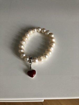 Thomas Sabo Brazalete de perlas crema-rojo ladrillo