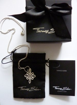 Thomas Sabo Damen-Anhänger 925 Silber Zirkonia weiß Love Knot Infinity Anhänger mit Kette
