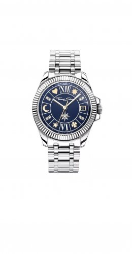 Thomas Sabo Horloge met metalen riempje zilver-donkerblauw Edelstaal