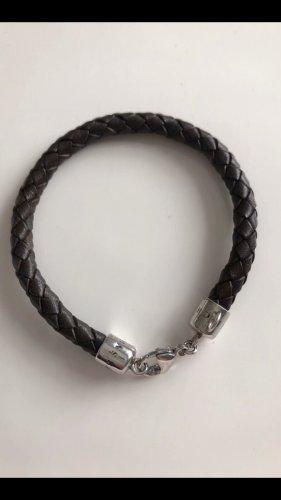 Thomas Sabo Bracelet en cuir argenté-marron clair