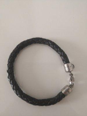 Thomas Sabo Bracelet en cuir argenté-brun foncé