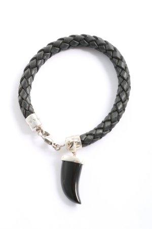 Thomas Sabo Bracelet en cuir noir-argenté style décontracté