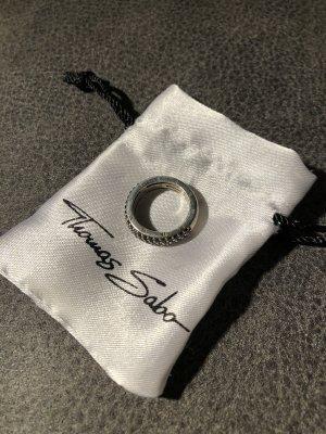 Thomas Sabo Anello d'argento nero-argento Argento