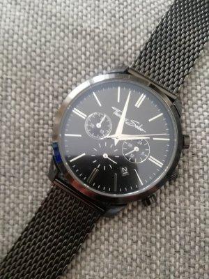 Thomas Sabo Uhr Edelstahl Chronograph schwarz Milanese Armband Quarz Uhr