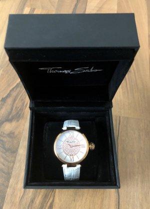Thomas Sabo Reloj con pulsera de cuero blanco-color rosa dorado