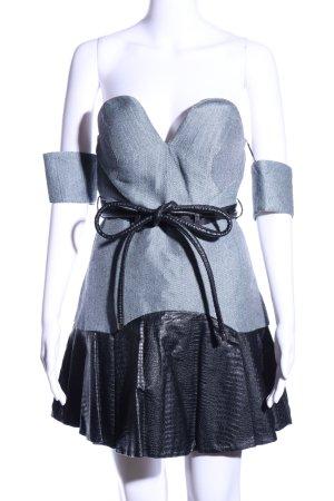 Three Floor schulterfreies Kleid hellgrau-schwarz Animalmuster