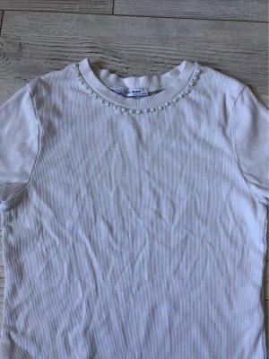 Zara Trafaluc Ribbed Shirt white