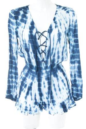 Tiare Hawaii Jumpsuit blau-weiß Allover-Druck Casual-Look