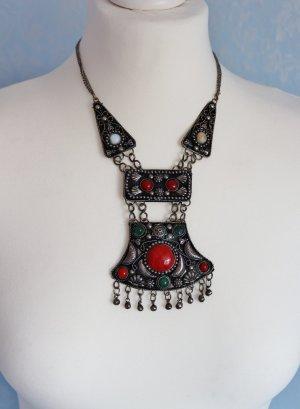 Tibet Collier Halskette Kette Metall Steine Boho Hippie Ibiza Handmade Statement