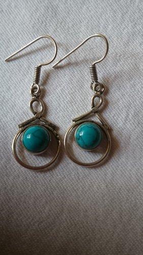 Tibet Silber Ohrringe 6mit türkis Stein Handmade