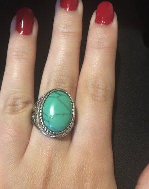 Srebrny pierścionek srebrny-miętowy