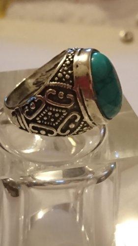 Tibet Silber Ring  türkies Grün Gr.19