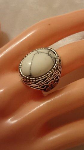 Tibet Silber Ring türkis Naturstein in Weiß / matt  Gr.17