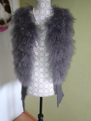 Fur vest grey-silver-colored mohair