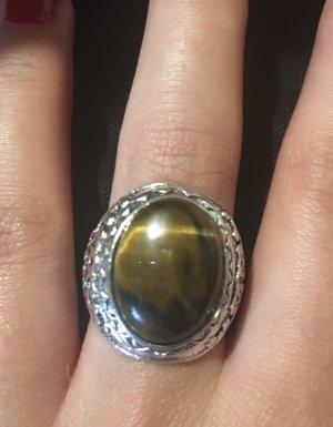 Srebrny pierścionek srebrny-brązowy