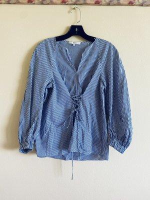 Tibi NYC Long Sleeve Blouse white-azure