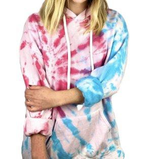 Tie Dye Batik Hoodie Pullover XL Pink Rosa Blau Türkis Weiß Oversized
