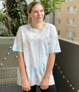 Tie Dye Batik Shirt Top Selfmade Unikat L Blau Türkis