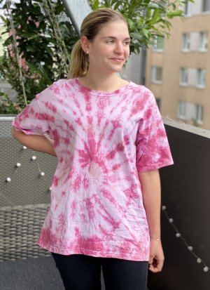 Tie Dye Batik Shirt Top Selfmade Unikat L Rot Österreich