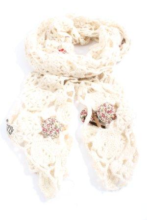 TIF-TIFFY Szydełkowany szalik w kolorze białej wełny Wygląd w stylu miejskim