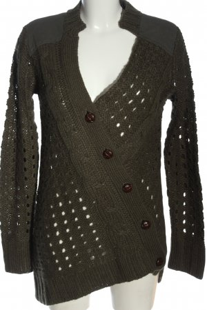 Tigerhill Knitted Cardigan brown cable stitch casual look