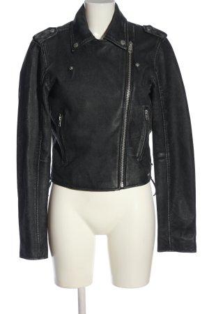 Tigha Biker Jacket black-light grey themed print casual look