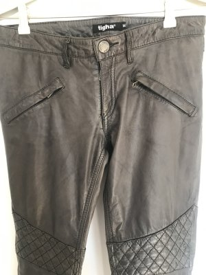 Tigha Pantalone in pelle grigio Pelle