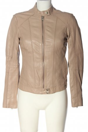 Tigha Giacca in pelle crema stile casual