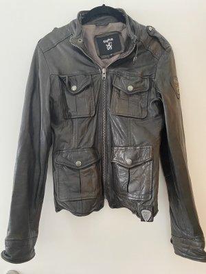 Tigha Leather Jacket black-taupe