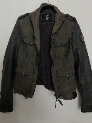 Tigha Leather Jacket black-dark green