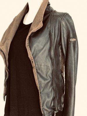 Tigha Leather Jacket black-ocher
