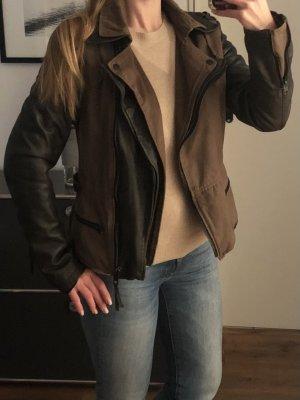 Tigha Leather Jacket black-khaki