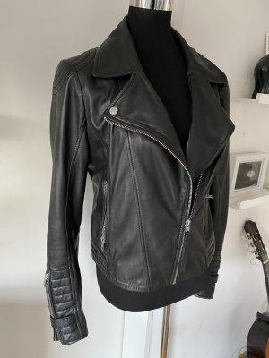 Tigha Lederjacke schwarz biker Jacke M 38 Futter Limited