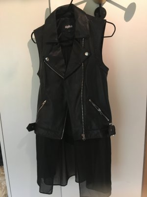 Tigha Biker Vest black leather