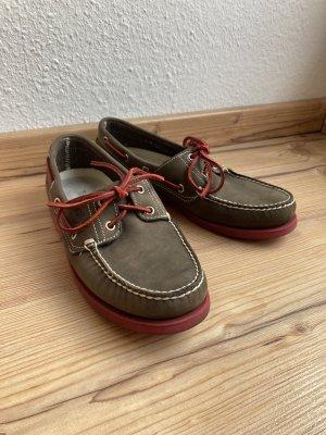 Timberland Zapatos de marinero marrón oscuro-rojo oscuro