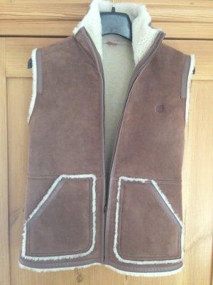 Timberland Veste en cuir marron clair-blanc cassé