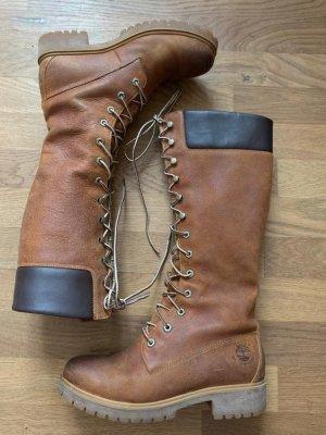 Timberland Botas con cordones coñac-marrón