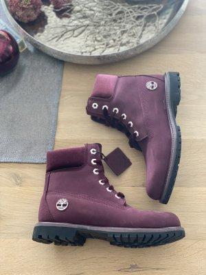 Timberland Stiefeletten Boots Bordeaux Samt Boots Violett Gr. 38,5