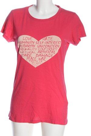 Timberland T-shirt rosa caratteri stampati stile casual