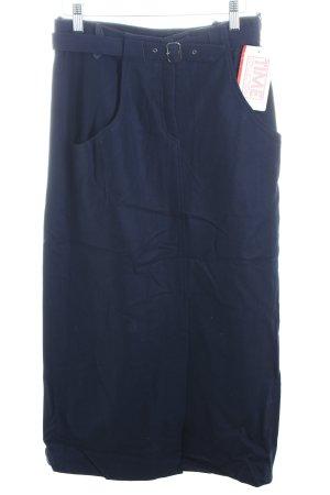Wool Skirt dark blue mixture fibre