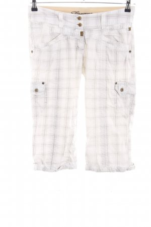 Timezone Pantalon 3/4 blanc-noir motif à carreaux style décontracté