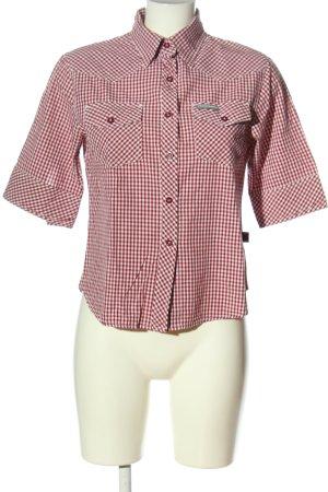 Timezone Chemise à manches courtes rouge-blanc motif à carreaux