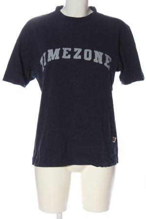 Timezone T-shirt imprimé bleu-gris clair lettrage imprimé style décontracté